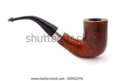 Smoking Pipe on white in profile - stock photo