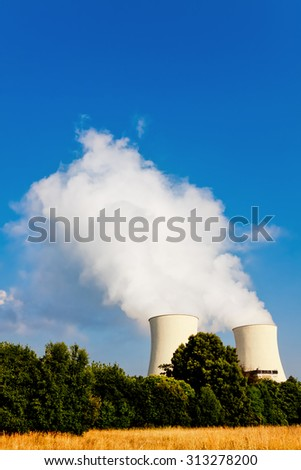 Smoking pipes of thermal power plant  - stock photo
