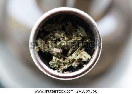 Smoking pot of marijuana soft drug in Amsterdam, Netherlands - stock photo
