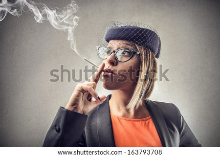 Smoking Retro Lady