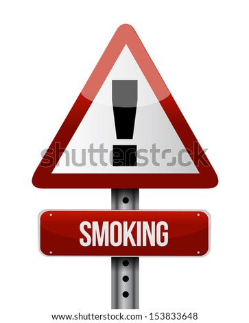 smoking road sign illustration design over a white background - stock photo