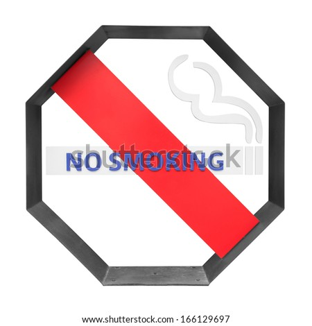Smoking sign isolated on white background with clipping path.