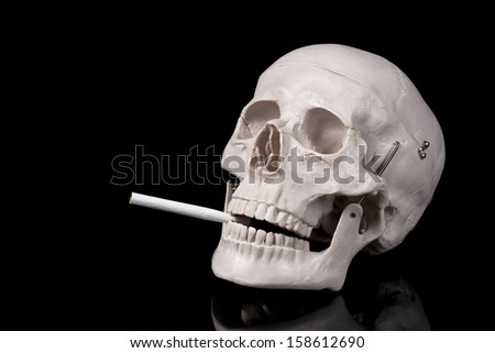 smoking skull on a black background