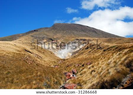 Smoking Sulphur, Mount Ngauruhoe, Tongariro national park, New Zealand  - stock photo