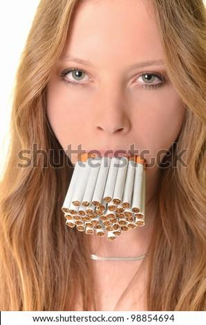 smoking woman - stock photo
