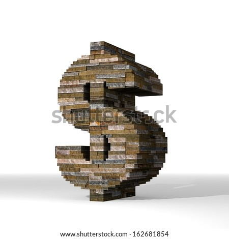 Smoky black  isolated brick 3d graphic with isolated Dollar sign  built out of stones - stock photo