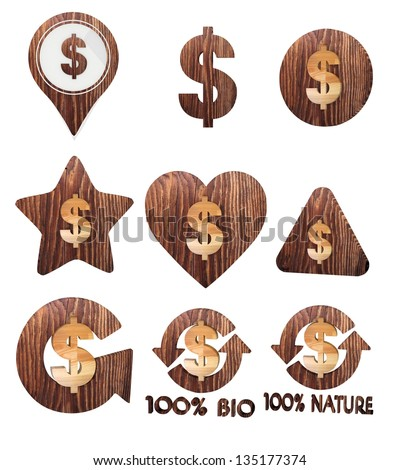Smoky black  natural wood 3d graphic with financial Dollar icon set of wooden 3d buttons - stock photo