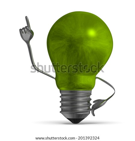 Smoky green light bulb character in moment of insight isolated - stock photo
