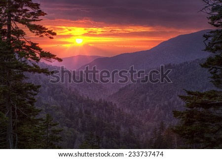 Smoky Mountain Sunset - stock photo