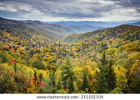 Smoky Mountains National Park, Tennessee, USA autumn landscape at Newfound Gap. - stock photo