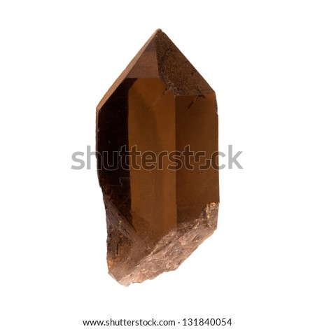 Smoky quartz crystal on a white background - stock photo