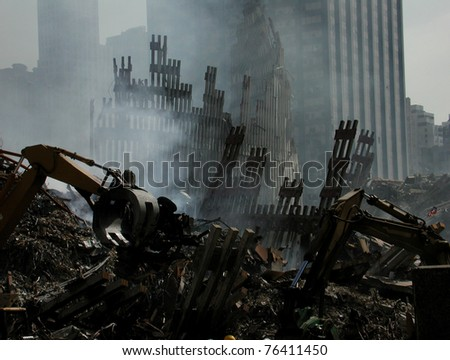 Smoldering, Ruins of NY WTC at Ground Zero on 9-18-2001