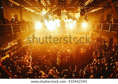 SMOLENSK - APR 2: Night club party crowd mosh at the concert of Max Korg on April 2, 2016 in Smolensk, Russia. - stock photo