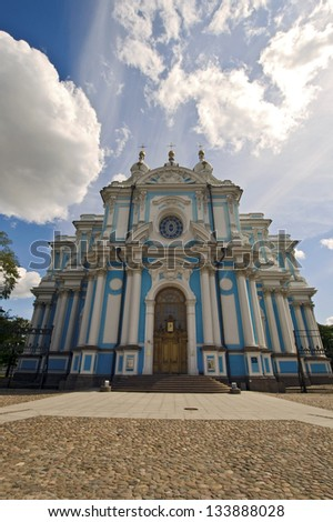 Smolny cathedral and convent, Saint Petersburg, Russia.  Catedral y Convento de Smolny, San Petersburgo, Rusia.  - stock photo