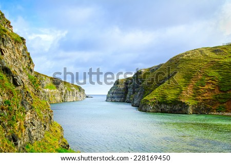 Smoo Cave bay landscape in Durness. Sutherland, Highlands of Scotland, Uk, Europe. - stock photo