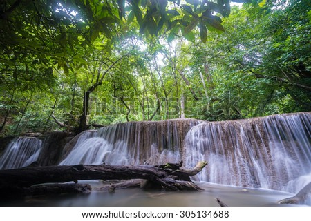 Smooth and soft Huay Me Kamin Waterfall in long exposure, this is beautiful and famous waterfall in Kanchaburi province, Thailand