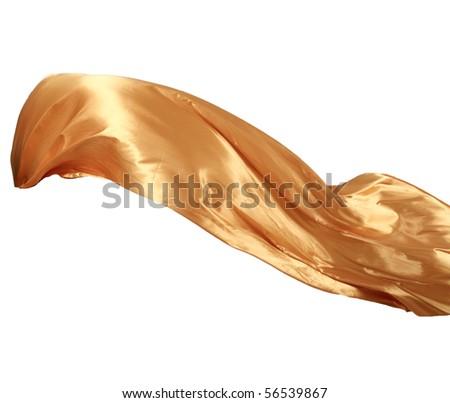 Smooth elegant golden satin isolated on white background - stock photo