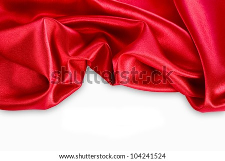 Smooth elegant red silk can use as background - stock photo