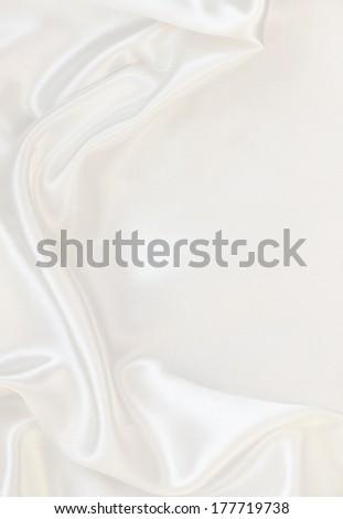 Smooth elegant white silk can use as wedding background  - stock photo