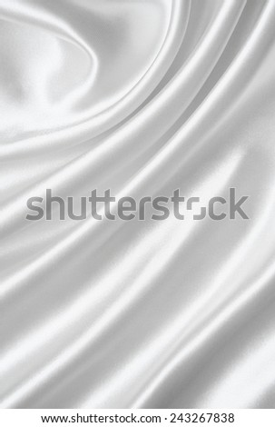 Smooth elegant white silk can use as wedding background  - stock photo