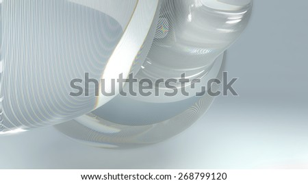 Smooth transparent geometry background with refraction and reflection - stock photo