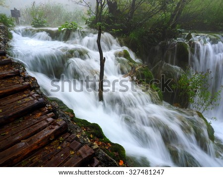 Smooth waterfall at the plitvice national park
