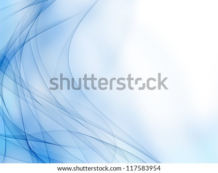 Smooth waves from tones of blue on a white background - stock photo