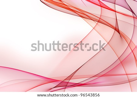 Smooth waves from tones of red on a white background - stock photo