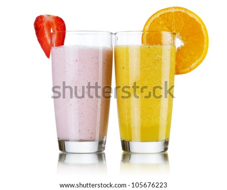 Smoothie drinks isolated on white background