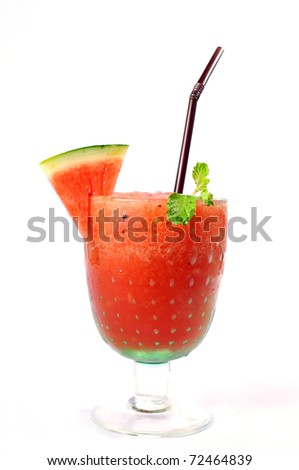 Smoothie water melon with slice water melon isolate on white background. - stock photo