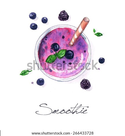 Smoothie - Watercolor Food Collection - stock photo