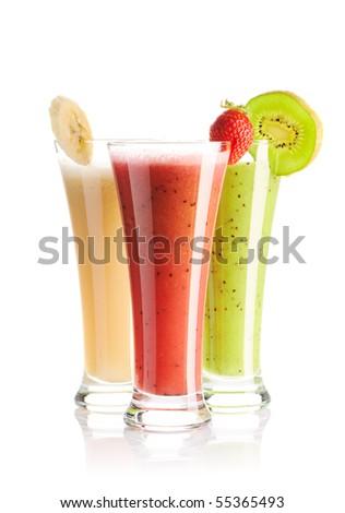 Smoothies isolated on white - strawberry, kiwi & banana - stock photo