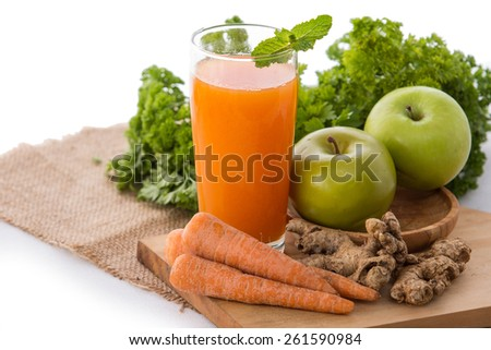 Smoothies mixing from apple and carrot - stock photo