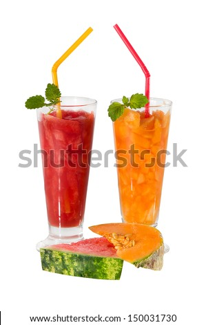smoothies of watermelon and melon