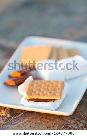 smores and its ingredients on the plate - stock photo