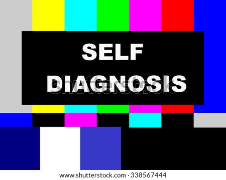 SMPTE color bars television test pattern, with Self Diagnosis message - stock photo