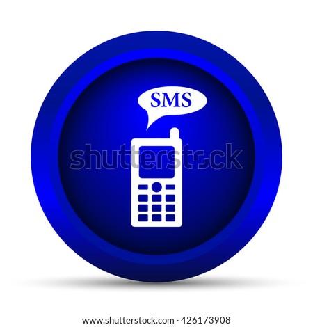 SMS icon. Internet button on white background. - stock photo