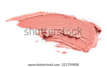 Smudged lipstick isolated on white background - stock photo