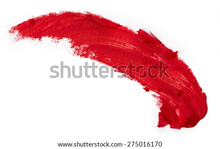 Smudged red lipstick isolated on white background - stock photo