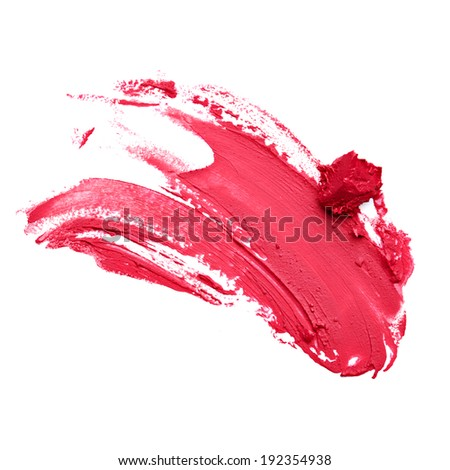 Smudged red lipstick isolated white background - stock photo