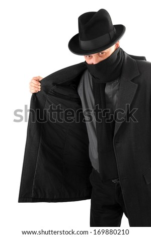 Smuggler is selling something illegally on black market - stock photo
