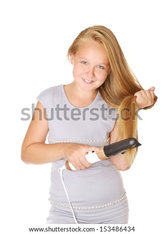 Smyiling pretty  girl drying her hair, isolated on while - stock photo