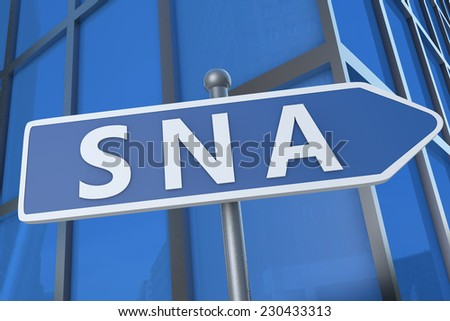 SNA - Systems Network Architecture - illustration with street sign in front of office building.
