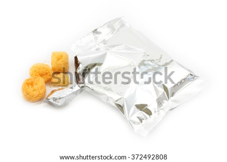 snack in bag on white background
