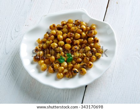 snack made from roasted chickpeas.popular in Algeria, Iran and Turkey,