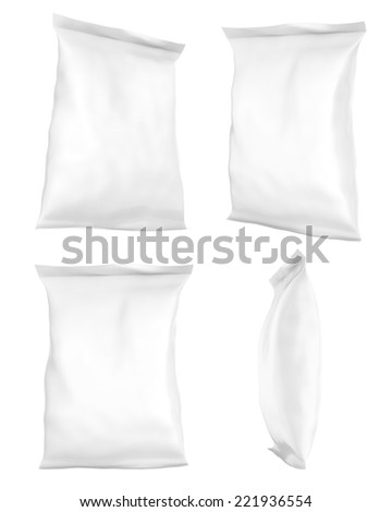 Snack package.Foil Food Packing for the isolation of the product on white background. Easy editable for your design.  - stock photo