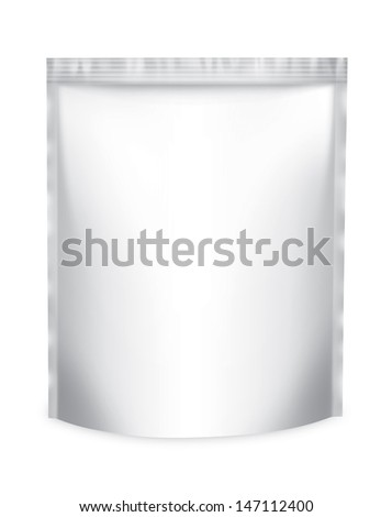 Snack package frontally. Packing isolation of the product Blank Foil Food Or Drink Bag Packaging on a white background with reflections and soldering white color  - stock photo