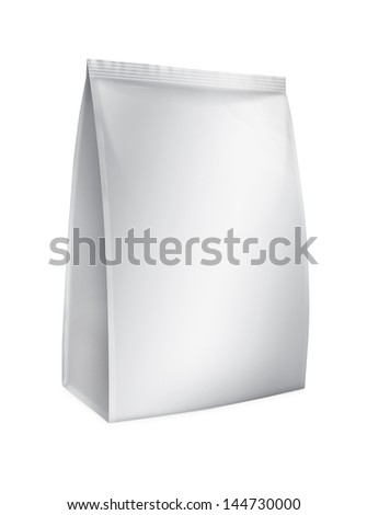 Snack package. Packing for the isolation of the product on a white background with reflections and soldering white color - stock photo