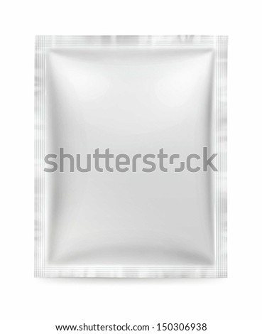 Snack package with solder on all sides frontally. Packing for the isolation of the product on a white background with reflections and soldering white color