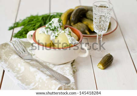 snack - pickles, potatoes and vodka - stock photo